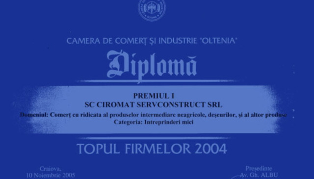 Premiul I in Topul firmelor in anul 2004 pentru Comertul cu ridicata al materialelor de constructii.